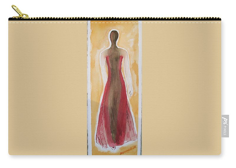 Dress Lady Red Yellow Fashion Carry-all Pouch featuring the painting Stranger by Patricia Caldwell
