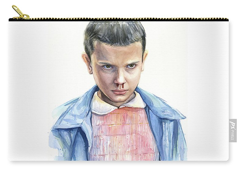 Strager Things Carry-all Pouch featuring the painting Stranger Things Eleven Portrait by Olga Shvartsur