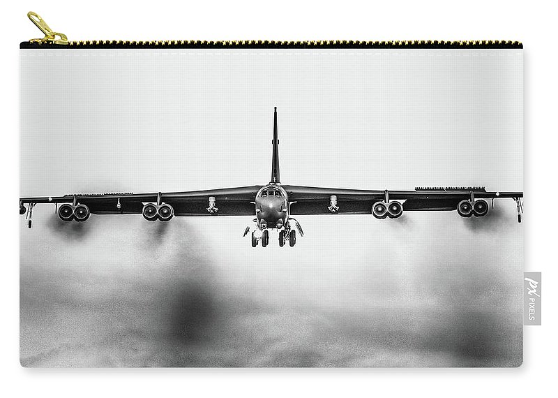 Boeing B-52 Stratofortress Leaving March Air Reserve Base 2016. #usaf #airforcecentralvalleyrecruiting #airforcecentralvalleyca #california #californiaadventure #pacific #riversidecounty #riversidecalifornia #airforce #b52 #b52bomber #aircombatcommand #sac #coldwar #boeing #boeingb52 #marchfield #marcharb Carry-all Pouch featuring the photograph Stratofortress by Tommy Anderson