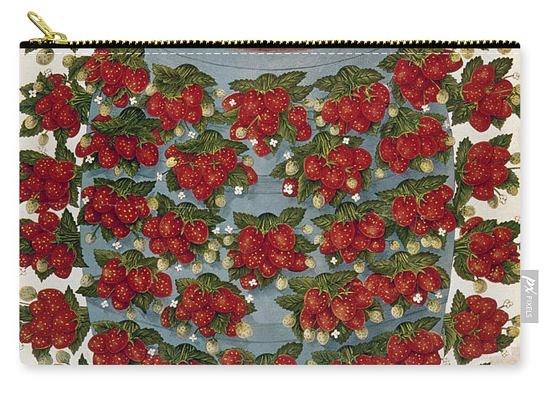 1889 Carry-all Pouch featuring the photograph Strawberries, 1889 by Granger