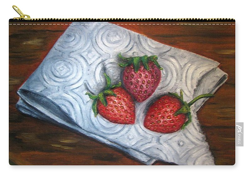 Strawberries Carry-all Pouch featuring the painting Strawberries-3 Contemporary Oil Painting by Natalja Picugina