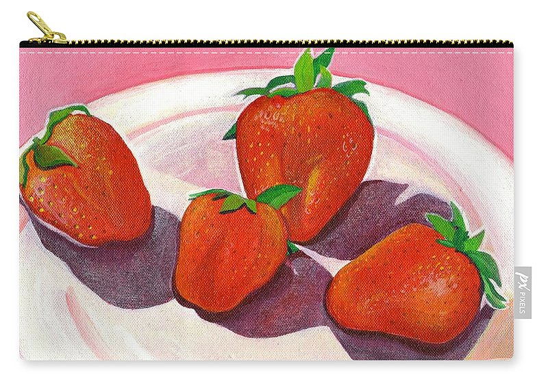 Food Carry-all Pouch featuring the painting Strawberries And Cream by Helena Tiainen