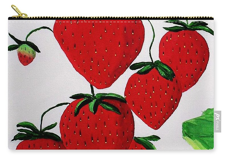 Strawberries Carry-all Pouch featuring the painting Strawberries by Rodney Campbell