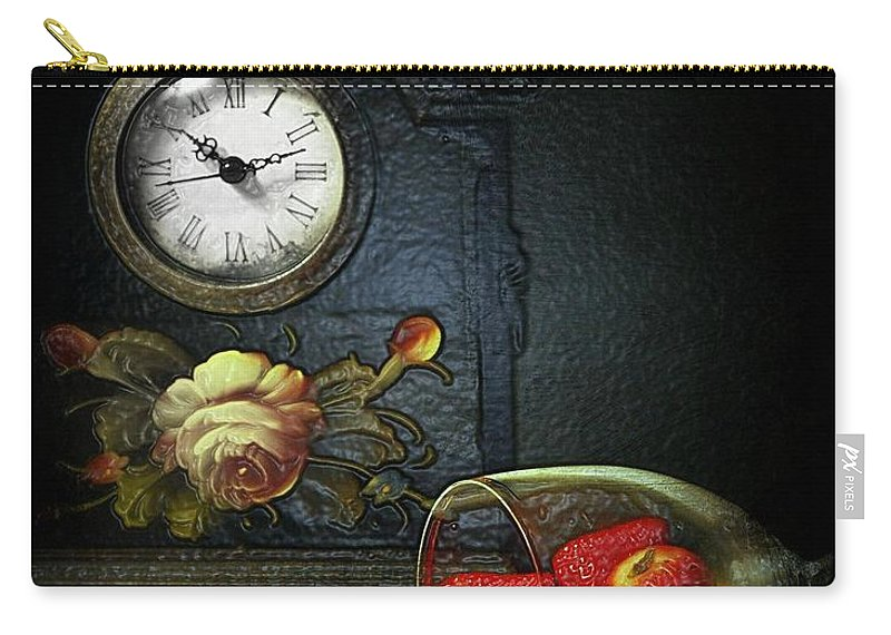Still Life Carry-all Pouch featuring the photograph Strawberry Clock by Diana Angstadt