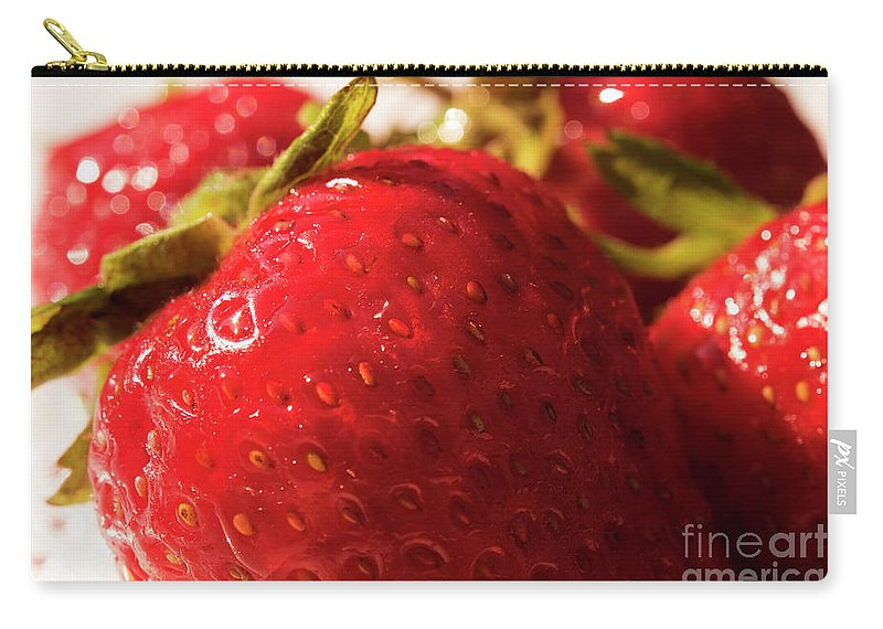 Strawberry Carry-all Pouch featuring the photograph Strawberry Fun by Michelle Himes
