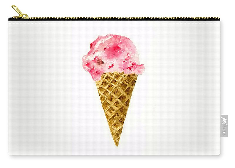 Food Carry-all Pouch featuring the painting Strawberry Ice Cream Cone by Michael Vigliotti