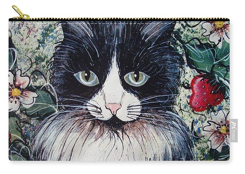 Cat Carry-all Pouch featuring the painting Strawberry Lover Cat by Natalie Holland