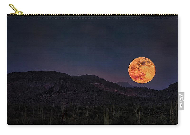 Strawberry Moon Carry-all Pouch featuring the photograph Strawberry Moon by Saija Lehtonen