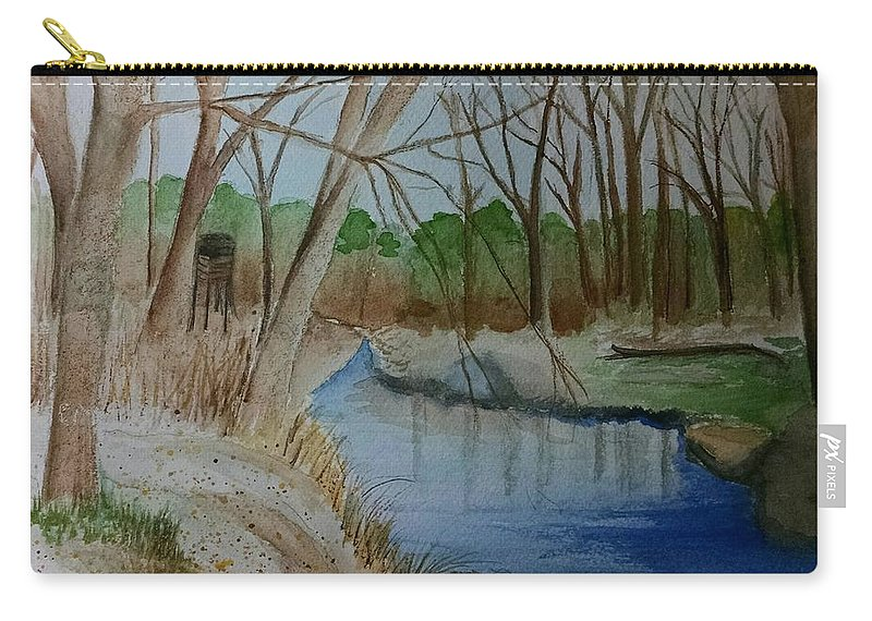 Fishing Carry-all Pouch featuring the painting Stream For Chandler by Lucy McGuffey