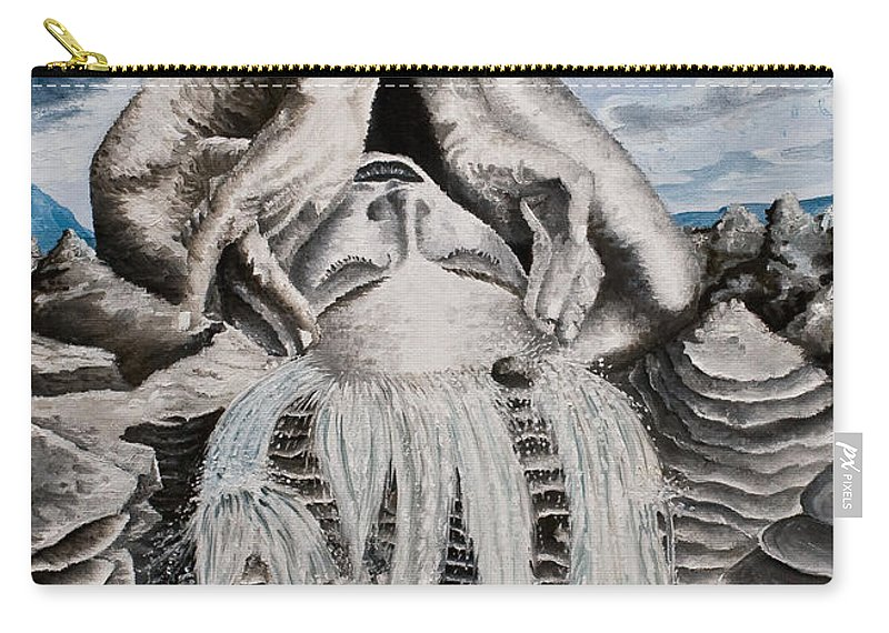 Landscape Portrait Woman Mountains Rocks Stream Water Carry-all Pouch featuring the painting Streams Of Thought by Pauline Sharp