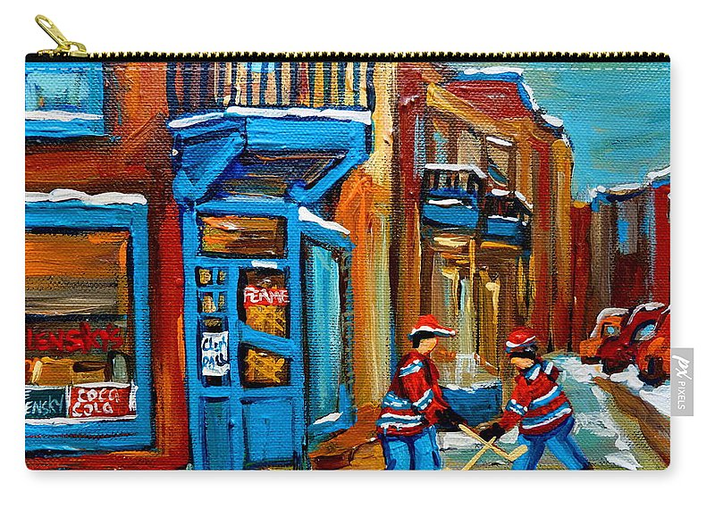 Wilenskys Carry-all Pouch featuring the painting Street Hockey At Wilensky's Montreal by Carole Spandau