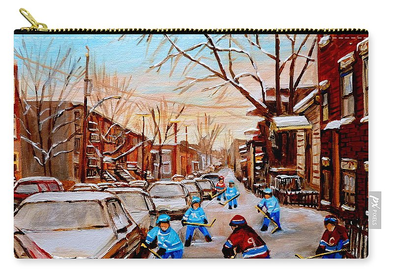 Streethockey Carry-all Pouch featuring the painting Street Hockey On Jeanne Mance by Carole Spandau