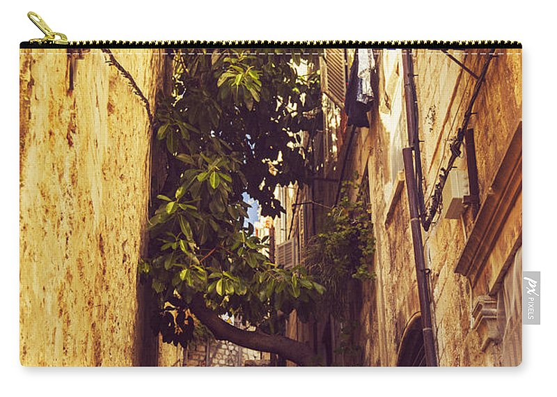 Architecture Carry-all Pouch featuring the photograph Street In Dubrovnik Old Town by Sandra Rugina