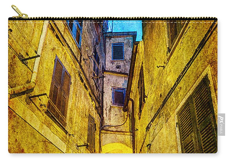 Cinque Terre Carry-all Pouch featuring the photograph Street In Vernazza - Vintage Version by Weston Westmoreland