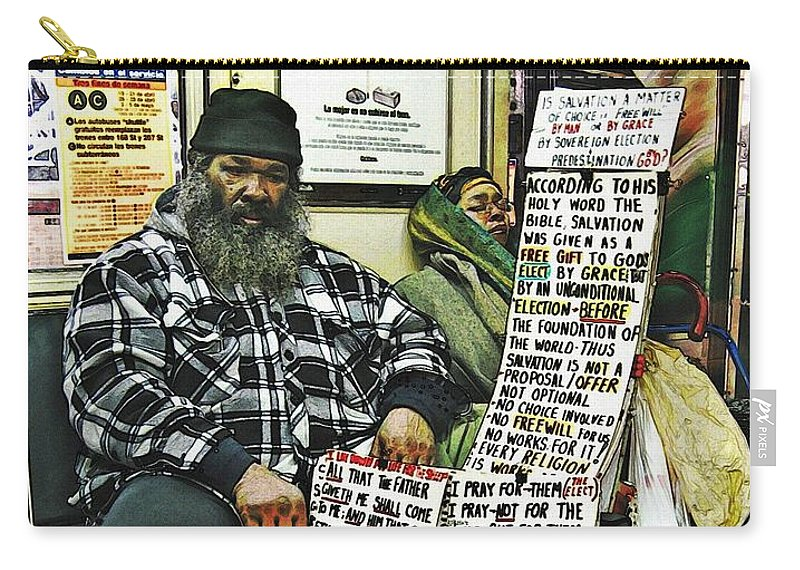 Passenger Carry-all Pouch featuring the photograph Street Preacher On The A Train by Sarah Loft