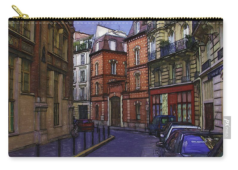 Notre Dame Carry-all Pouch featuring the photograph Street View Of Paris by Mary Koenig Godfrey
