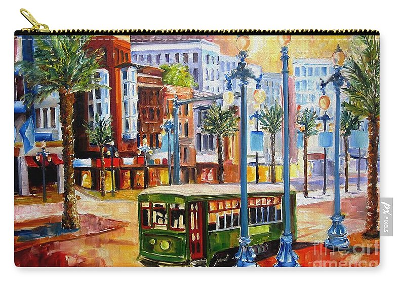 New Orleans Paintings Carry-all Pouch featuring the painting Streetcar On Canal Street by Diane Millsap