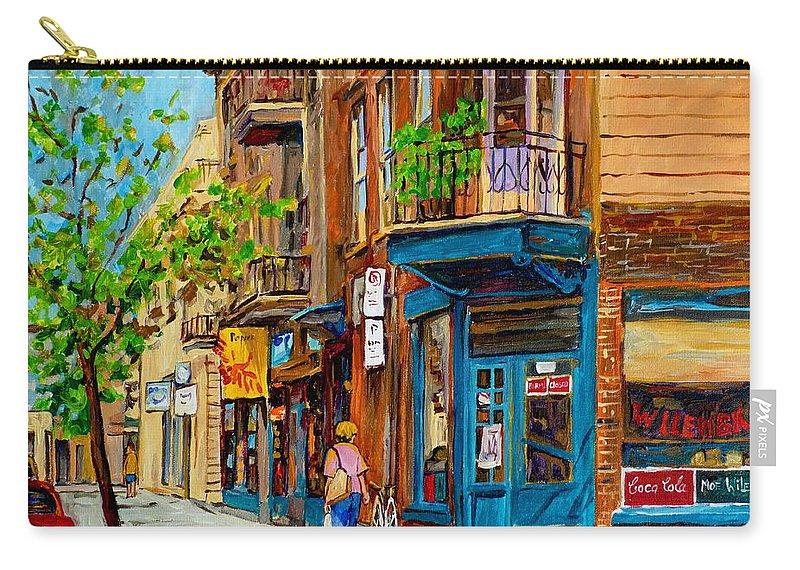 Wilensky's Diner Carry-all Pouch featuring the painting Streets Of Montreal Over 500 Prints Available By Montreal Cityscene Specialist Carole Spandau by Carole Spandau