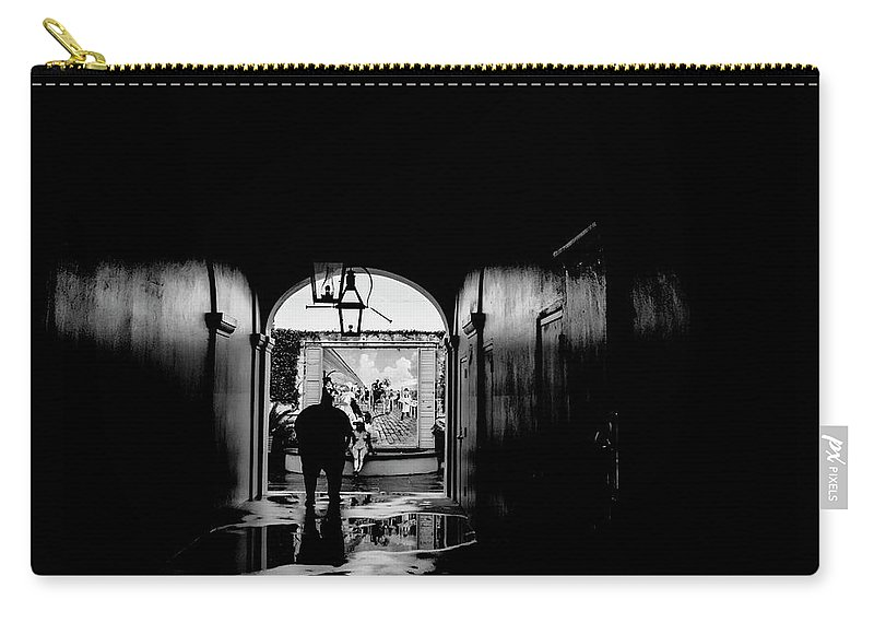 Street Photography Carry-all Pouch featuring the photograph Streets Of New Orleans Black by Chuck Kuhn