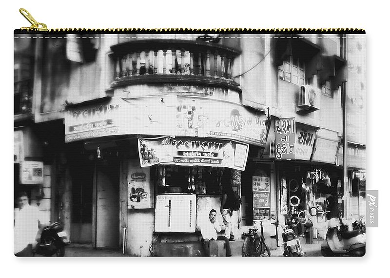 #street Photograohy #crossroads #street Corners #street Shops Carry-all Pouch featuring the photograph StreetShots_Surat by Priyanka Dave