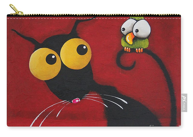 Stressie Cat Carry-all Pouch featuring the painting Stressiecat And The Bird by Lucia Stewart