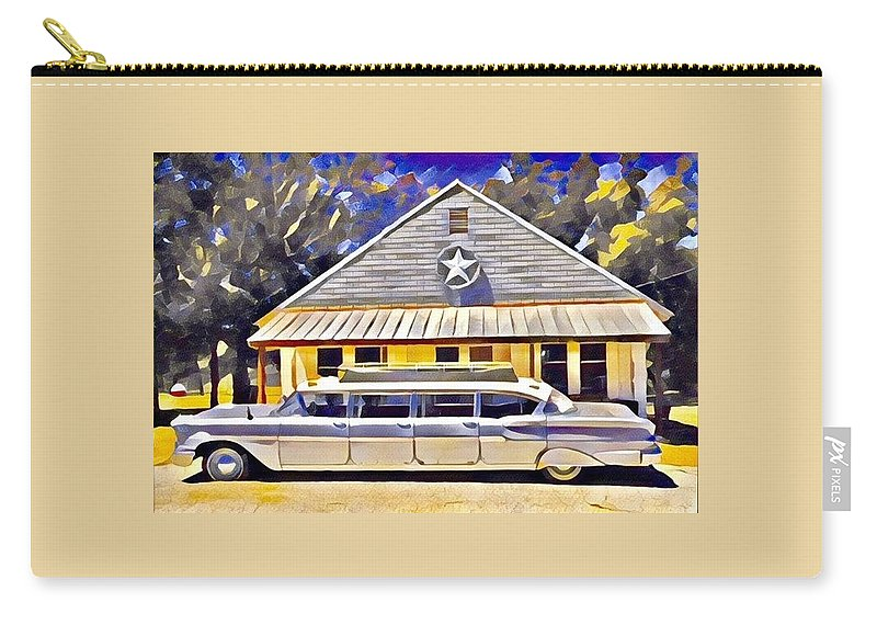 Limo Carry-all Pouch featuring the digital art Stretch Chevy by Wendy Biro-Pollard