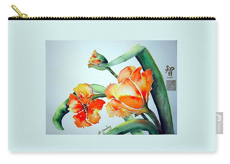 Tulips Or Poppies Carry-all Pouch featuring the painting Stretching In The Spring Sun by Joanne Smoley