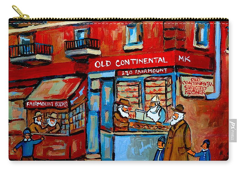 Old Continental On Fairmount Carry-all Pouch featuring the painting Strictly Kosher by Carole Spandau