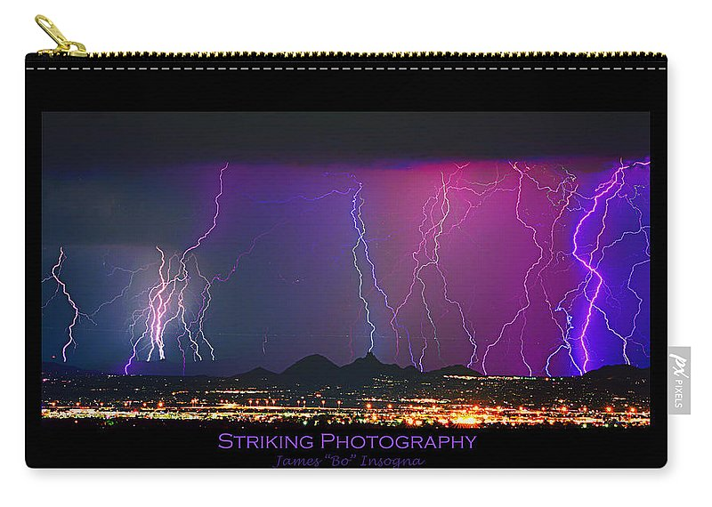 Lightning Carry-all Pouch featuring the photograph Striking Photography by James BO Insogna