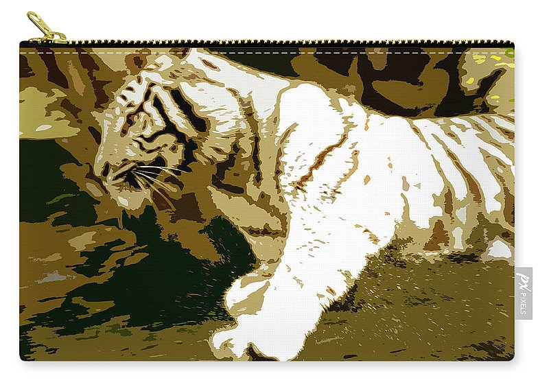 Tiger Carry-all Pouch featuring the painting Striking Tiger by David Lee Thompson