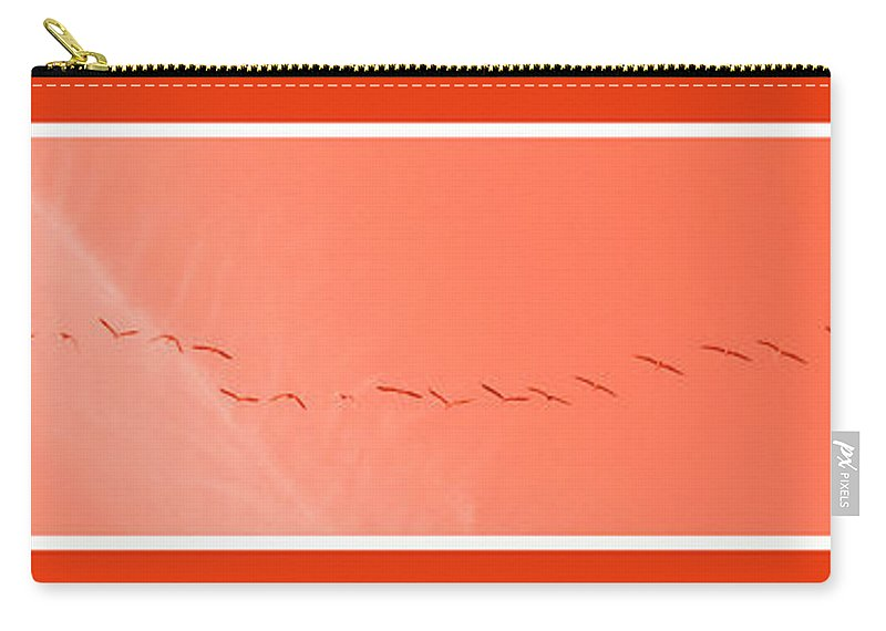 Birds Carry-all Pouch featuring the photograph String Of Brids In Red by Mary Mikawoz