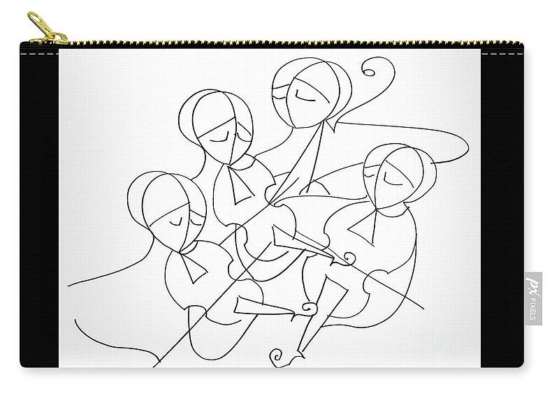 String Quartet Carry-all Pouch featuring the drawing String Quartet by Emanuel Vardi