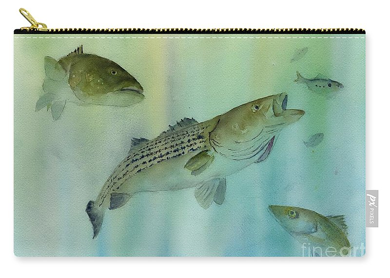 Striped Bass Carry-all Pouch featuring the painting Striped Bass On The Feed by Paul Temple