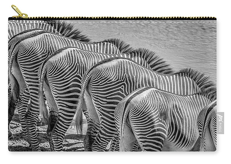 Africa Carry-all Pouch featuring the photograph Stripes 7578bw by Karen Celella