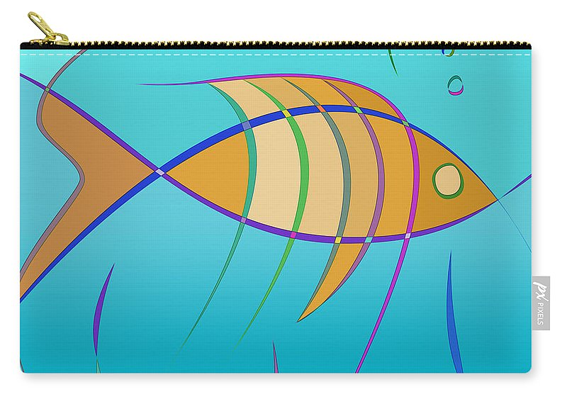 Stripes Carry-all Pouch featuring the digital art Stripes - Fish by Carlos Vieira