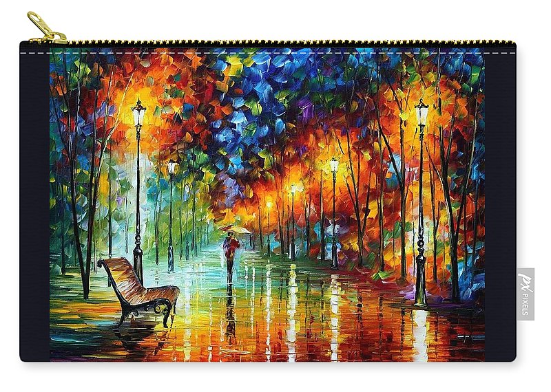 Afremov Carry-all Pouch featuring the painting Stroll In The Fog by Leonid Afremov