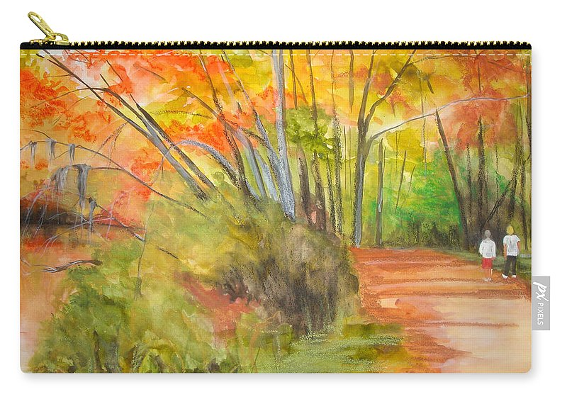 Landscape Carry-all Pouch featuring the painting Strolling Along The Canal by Jean Blackmer