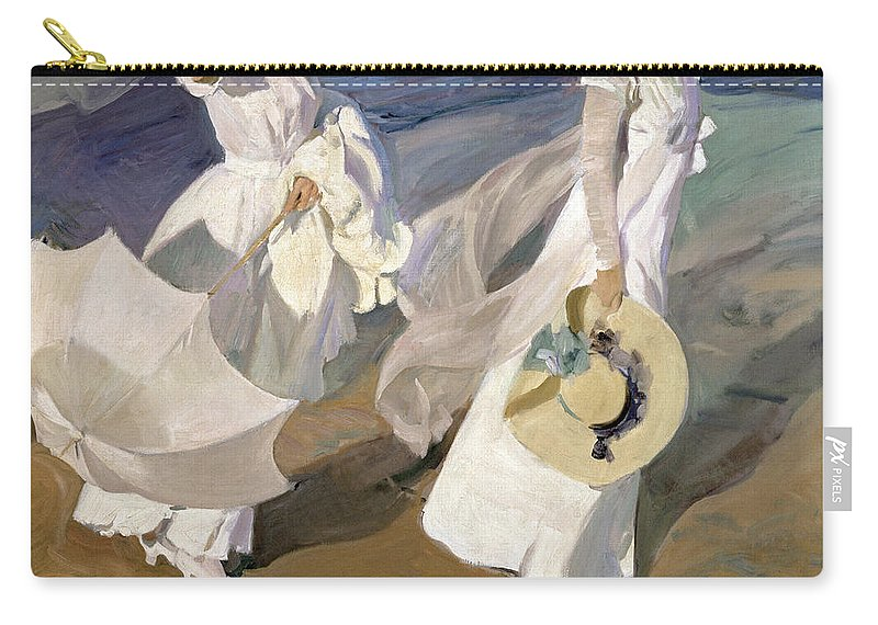 Sorolla Carry-all Pouch featuring the painting Strolling along the Seashore by Joaquin Sorolla y Bastida