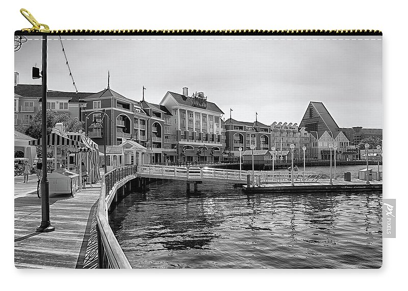 Black And White Carry-all Pouch featuring the photograph Strolling on the boardwalk in Black and White Walt Disney World MP by Thomas Woolworth