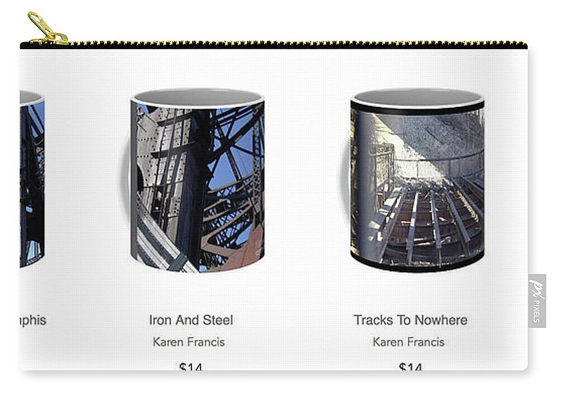 Coffee Mug Carry-all Pouch featuring the digital art Strong As Steel Coffee Mugs by Karen Francis