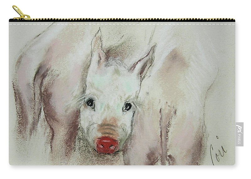 Animal Carry-all Pouch featuring the drawing Stuck In The Middle by Cori Solomon