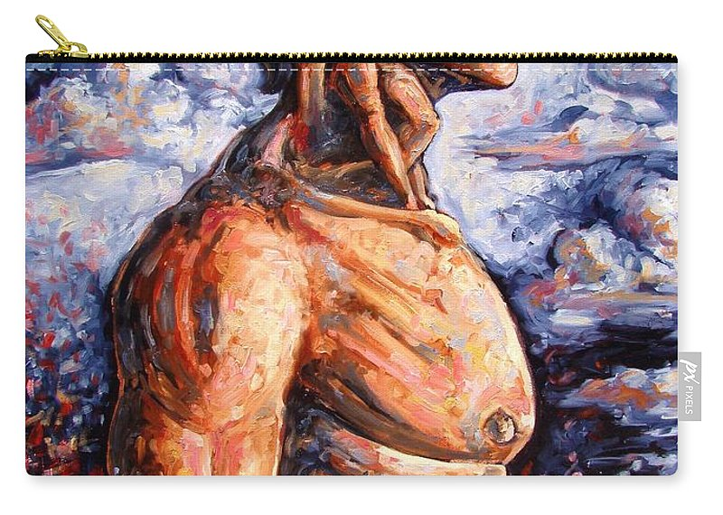 Surrealism Carry-all Pouch featuring the painting Stuck On You In My Unconscious Paradise by Darwin Leon