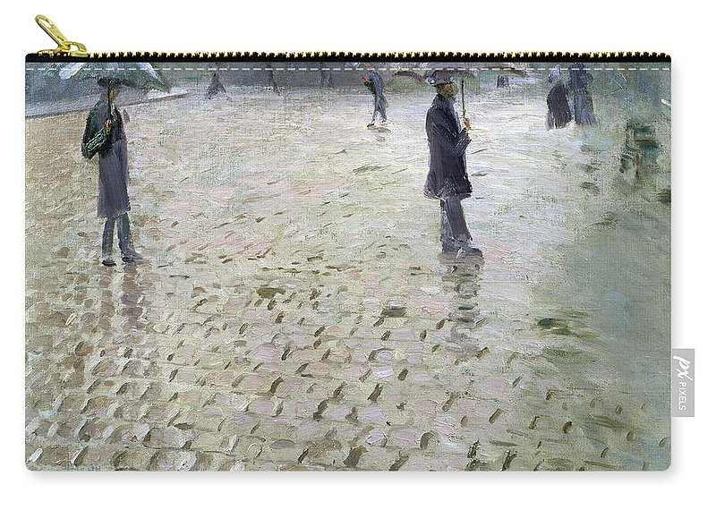 Gustave Carry-all Pouch featuring the painting Study For A Paris Street Rainy Day by Gustave Caillebotte
