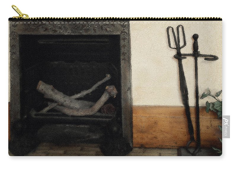 Fireplace Carry-all Pouch featuring the painting Study In Iron, Wood And Stone by RC deWinter