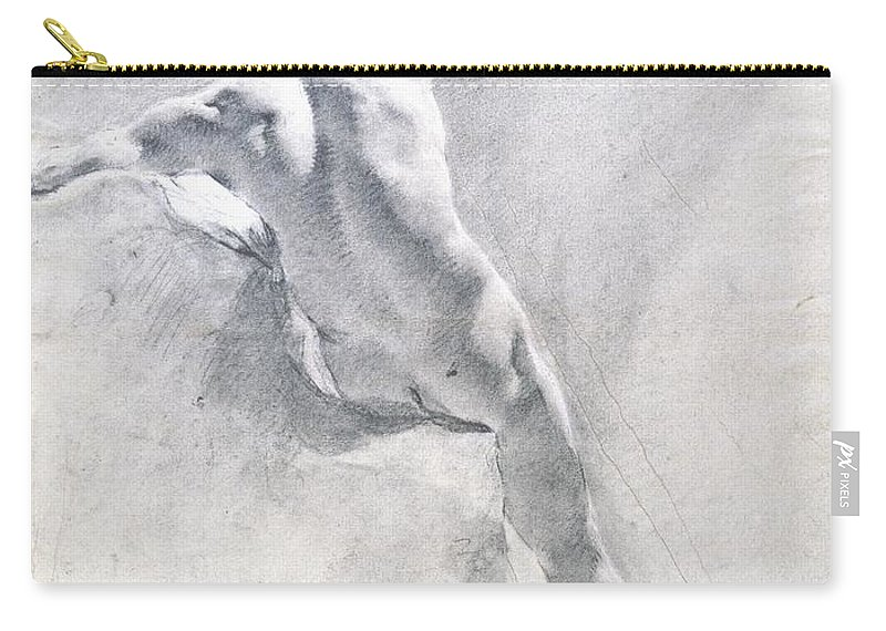 Study Carry-all Pouch featuring the drawing Study Of A Male Nude by Giambattista Piazzetta