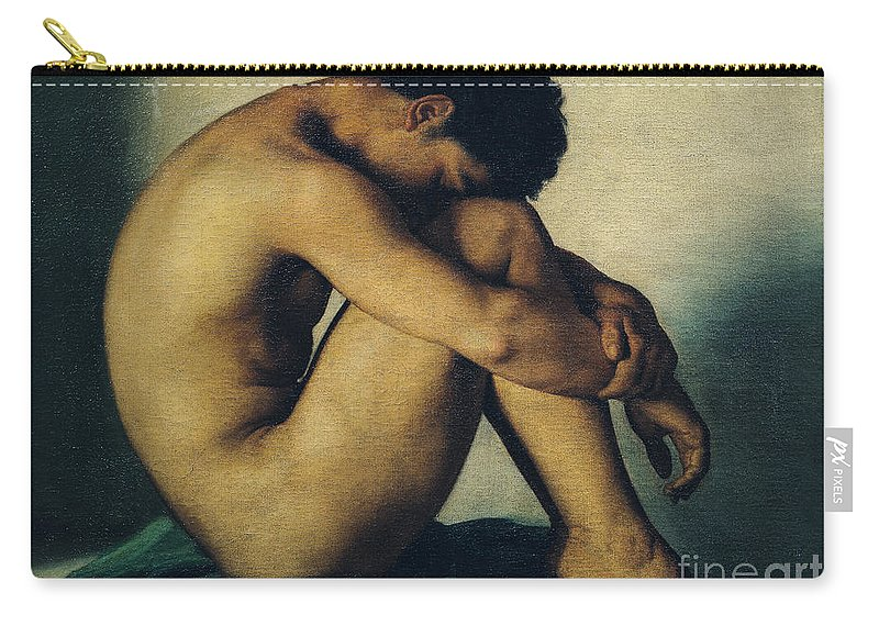 Study Carry-all Pouch featuring the painting Study Of A Nude Young Man by Hippolyte Flandrin