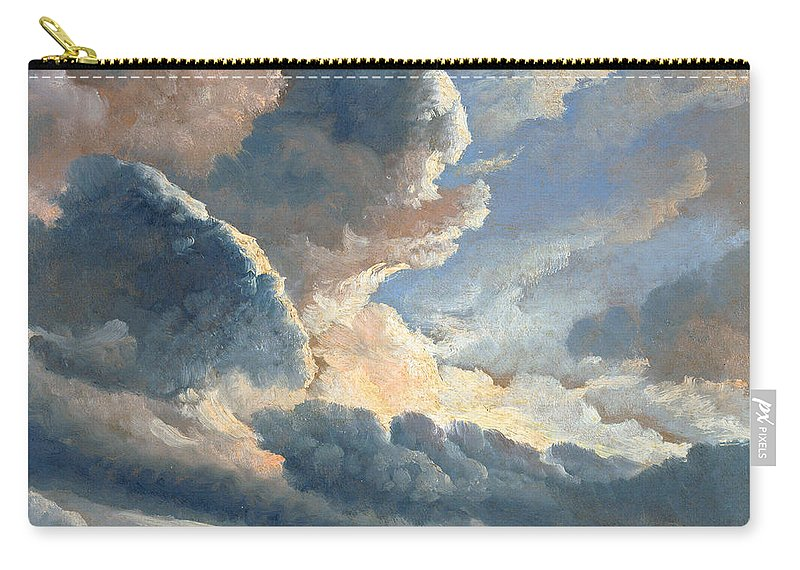 Simon Denis Carry-all Pouch featuring the painting Study Of Clouds With A Sunset Near Rome by Simon Denis