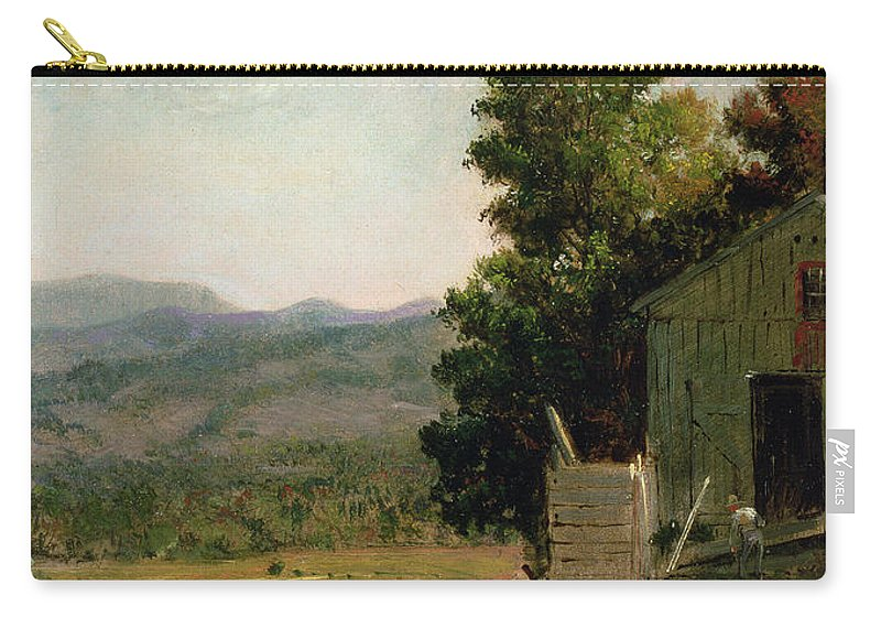 Study Of Old Barn Carry-all Pouch featuring the painting Study Of Old Barn In New Hampshire by George Loring Brown