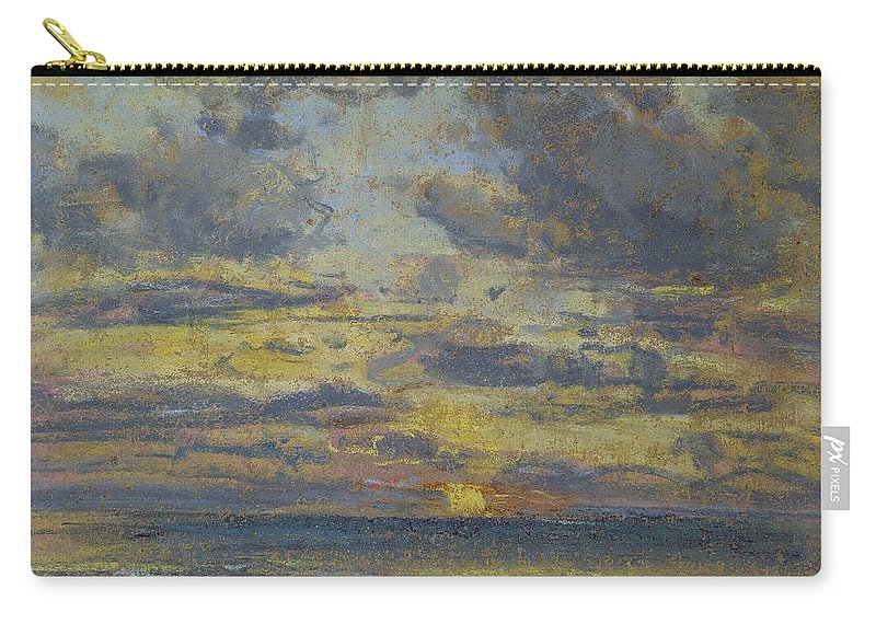 Study Carry-all Pouch featuring the pastel Study Of The Sky With Setting Sun by Eugene Louis Boudin