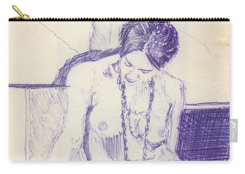 Ink Sketch Carry-all Pouch featuring the drawing Studying For Exams by Ron Bissett